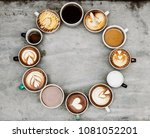 aerial view of various coffee   Shutterstock . vector #1081052201