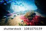 underwater ocean waves and... | Shutterstock . vector #1081070159