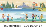 outdoor activity horizontal... | Shutterstock .eps vector #1081073417