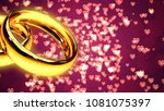 background with two gold rings... | Shutterstock . vector #1081075397