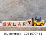 toy forklift hold letter block... | Shutterstock . vector #1081077461