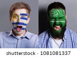 emotional soccer fans with... | Shutterstock . vector #1081081337