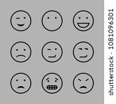 icons emoticons with smirking... | Shutterstock .eps vector #1081096301