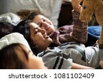 teenage girls using smartphones ... | Shutterstock . vector #1081102409