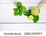 Fresh Ripe Of Lime And Sliced...
