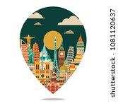 world famous monuments skyline. ... | Shutterstock .eps vector #1081120637