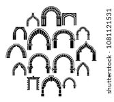 arch types icons set. simple...   Shutterstock .eps vector #1081121531
