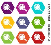 magnifier icons 9 set coloful...