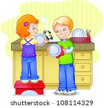 brother and sister doing dishes | Shutterstock .eps vector #108114329