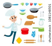 cartoon kitchen tools set and... | Shutterstock .eps vector #1081148501