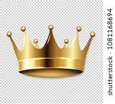 golden crown with transparent... | Shutterstock .eps vector #1081168694