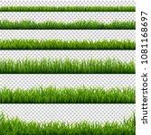 big set green grass borders... | Shutterstock .eps vector #1081168697