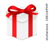 gift box with red color bow... | Shutterstock . vector #1081169549