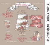 set of vintage color wedding... | Shutterstock .eps vector #1081170041