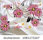 3d isolated flowers with fabric ... | Shutterstock . vector #1081172267