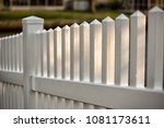 vinyl  picket fence with water... | Shutterstock . vector #1081173611