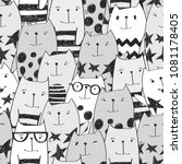abstract seamless cats pattern. ... | Shutterstock .eps vector #1081178405