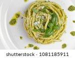spaghetti pasta bucatini with... | Shutterstock . vector #1081185911