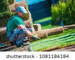 new turf grass installation by... | Shutterstock . vector #1081186184