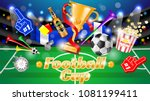 football ad poster  yellow  ... | Shutterstock .eps vector #1081199411