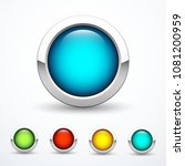 set of round metal buttons.... | Shutterstock .eps vector #1081200959