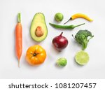 fresh vegetables and fruits on... | Shutterstock . vector #1081207457