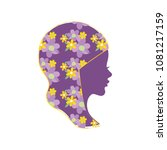 beautiful girl's profile with... | Shutterstock .eps vector #1081217159
