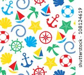 colorful nautical seamless... | Shutterstock .eps vector #108124619