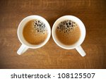 Two White Cups With Espresso O...