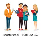 set of students with books | Shutterstock .eps vector #1081255367