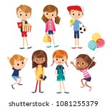 vector set of kids | Shutterstock .eps vector #1081255379