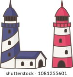 blue and red lighthouses | Shutterstock .eps vector #1081255601