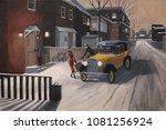 1930s winter scene of a couple... | Shutterstock . vector #1081256924