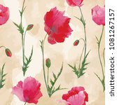 seamless with vector poppies... | Shutterstock .eps vector #1081267157