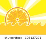 orange slice  sunshine rays ... | Shutterstock . vector #108127271