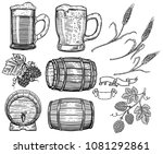 set of hand drawn beer design... | Shutterstock .eps vector #1081292861