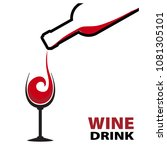 red wine splash with bottle and ... | Shutterstock .eps vector #1081305101