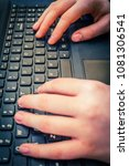 girls hands on laptop keyboard  ... | Shutterstock . vector #1081306541