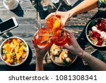friends toasting  saying cheers ... | Shutterstock . vector #1081308341