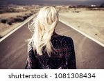 blonde nice girl walk and go on ... | Shutterstock . vector #1081308434