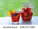 homemade sangria refreshing... | Shutterstock . vector #1081317389