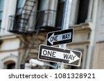 new york city road sign one way ... | Shutterstock . vector #1081328921
