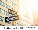new york city road sign one way ... | Shutterstock . vector #1081328957