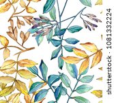 ash leaves in a watercolor... | Shutterstock . vector #1081332224