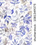 watercolor hand painted leaves... | Shutterstock . vector #1081349375