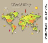 world map  separate states ... | Shutterstock .eps vector #1081349957