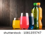 glasses and bottles of assorted ... | Shutterstock . vector #1081355747