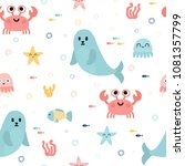 seamless pattern with sea... | Shutterstock .eps vector #1081357799