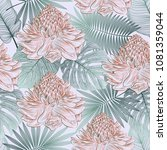 seamless pattern with tropical... | Shutterstock .eps vector #1081359044