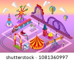 amusement park with a railway ...   Shutterstock .eps vector #1081360997